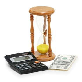 Time is money - calculator, hourglass and dollars