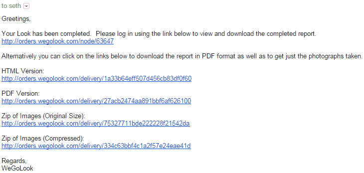 WeGoLook Email Screenshot