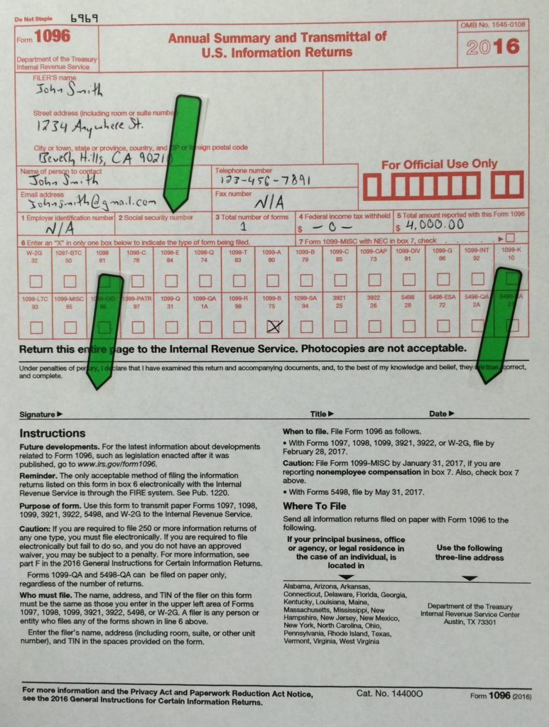 1096-Example1-773x1024  Tax Form Example on print out, template word, irs blank, who should sign, who must sign federal, for corrected 1099, us tax, printable irs approved, order irs,