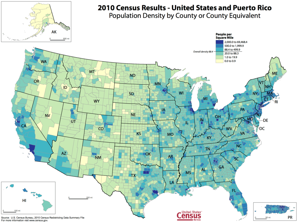 2010 Census Population Density Map of United States