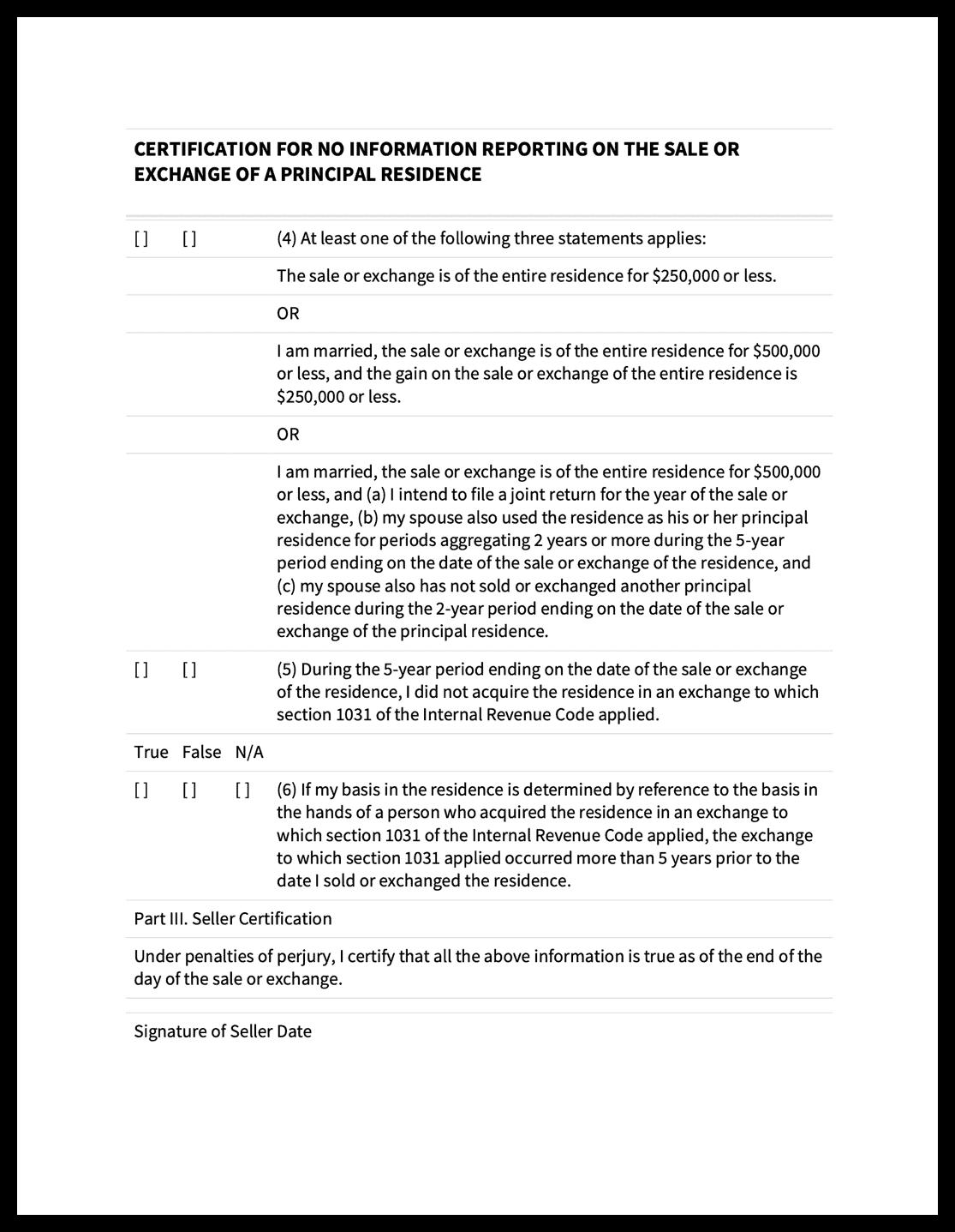 1099S Certification Exemption Form 2